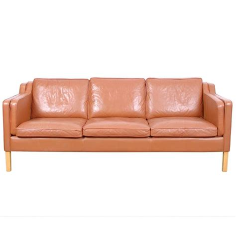 vintage scandinavian leather sofa vintage leather three seat sofa by stouby at 1stdibs