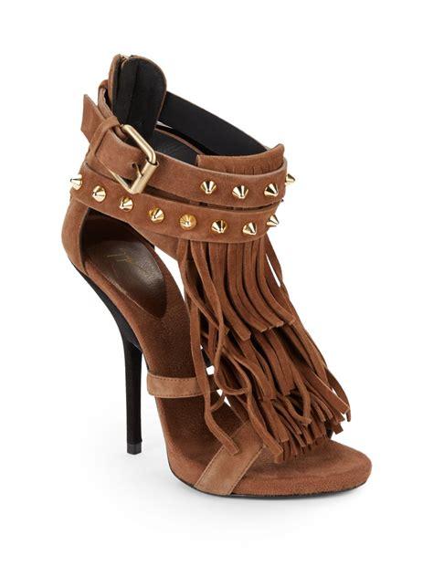 fringe suede sandals giuseppe zanotti studded suede fringe sandals in brown lyst
