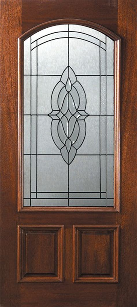 Exterior Slab Doors With Glass Slab Front Single Door 80 Mahogany Princeton 2 Panel Arch Lite Glass Mediterranean Front