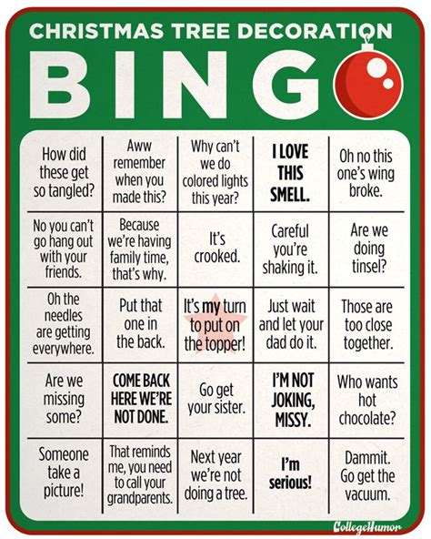 christmas tree decoration bingo collegehumor post