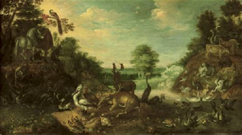 The Fall In The Garden Of Eden - circle of roelandt savery kortrijk 1576 1639 utrecht the garden of eden with a stag deer