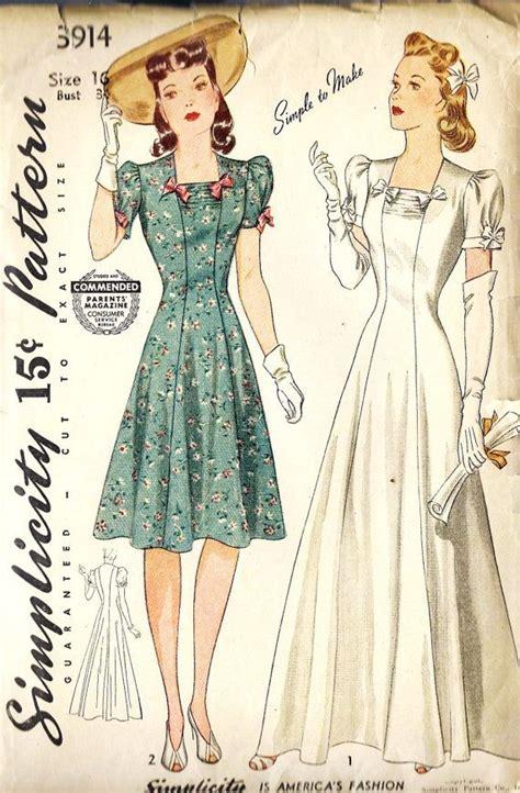 simple vintage pattern 1940s misses dress pattern rewind 1940s patterns pinterest