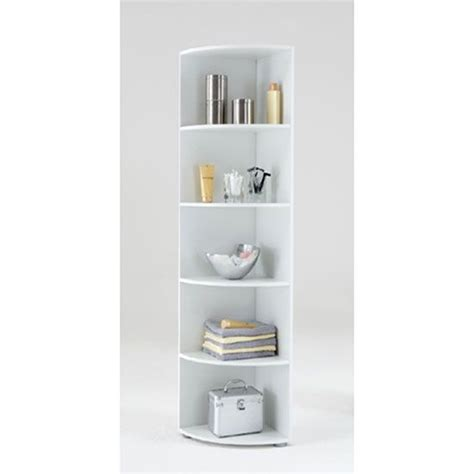 White Wood Corner Shelf by Ecki2 Wooden Corner Shelf In White With Five Compartments