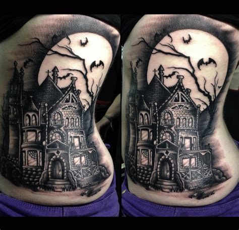 creepy tattoo designs 14 creepy cool haunted house tattoos inkedd