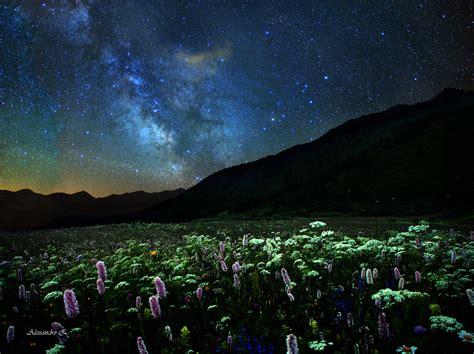 terrazza fiorita terrazza fiorita con vista centro della galassia
