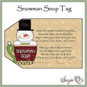 Snowman soup tag digital printable good craft show seller