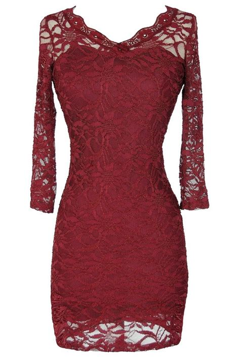 open back fitted lace dress with three quarter sleeves in