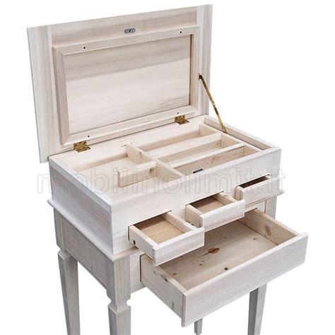 cassetti legno grezzo portagioie con cassetti e segreto grezzo