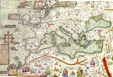 14th Century Middle Ages Europe Map by Abraham Cresques Wikipedia