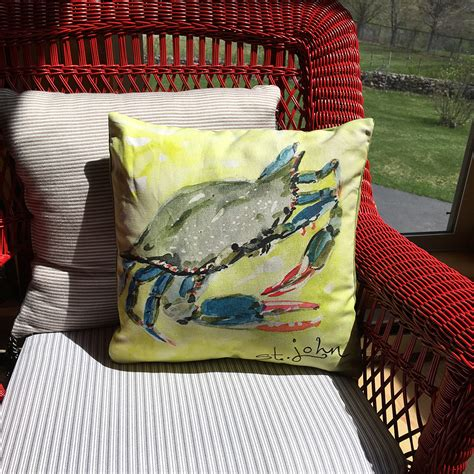 coastal decor blue crab throw pillow home decor hibiscus