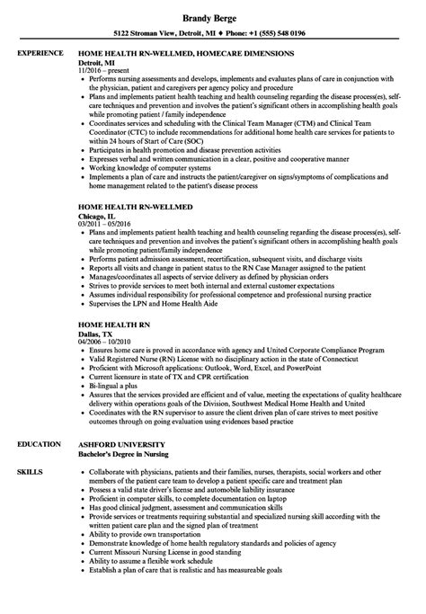 Home Health Resume by Home Health Rn Resume Sles Velvet