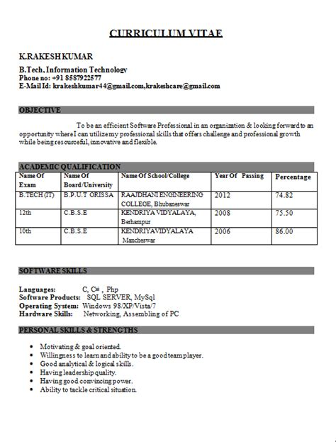best resume exles for freshers engineers sle resume format for freshers engineers