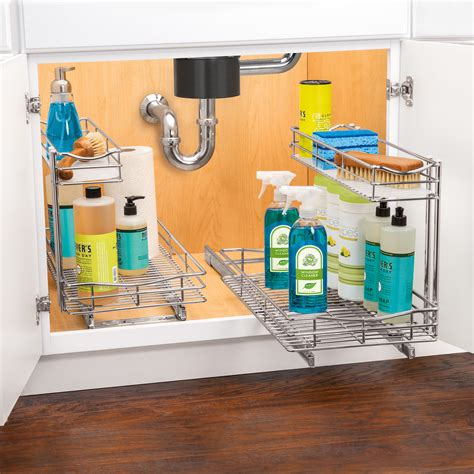 pull out bathroom cabinet organizer lynk roll out sink cabinet organizer pull out two