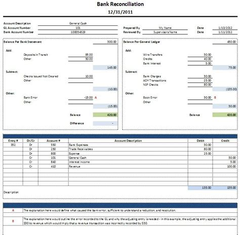 monthly bank reconciliation template excel