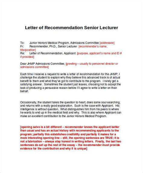 Letter To Senior Sle Letter Of Recommendation 23 Free Documents In Doc