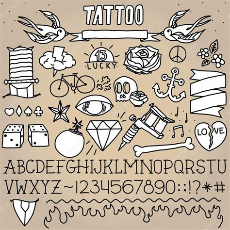 tattoo old school writing old school tattoo objects pack stock vector 169 dmitriylo