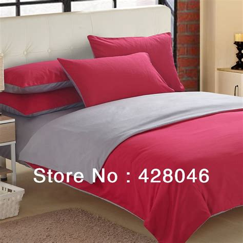 plain grey comforter red gray brushed fabric plain 4pcs bedding sets solid