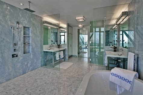 Bathroom Glass Tile Designs by Open Shower Design By Anne Hepfer Designs