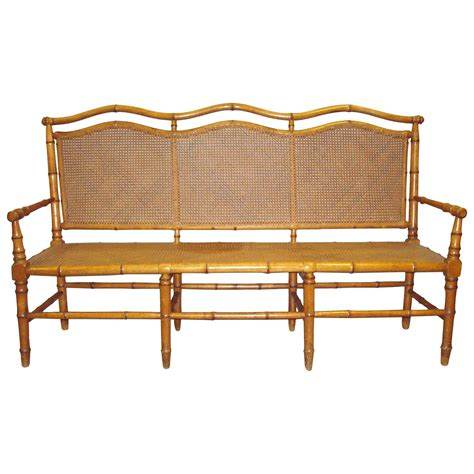 faux bamboo l stylish 19th century cherrywood faux bamboo settee or hall