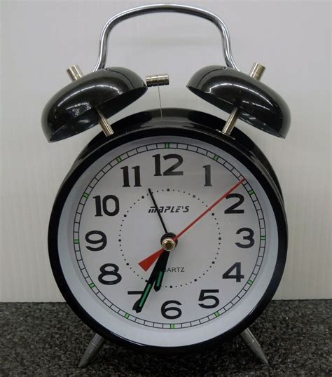 maples twin bell alarm clock black ebay