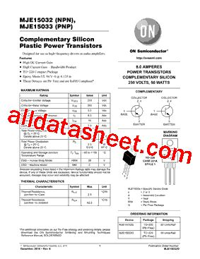 datasheet transistor mje15033 mje15033 데이터시트 pdf on semiconductor