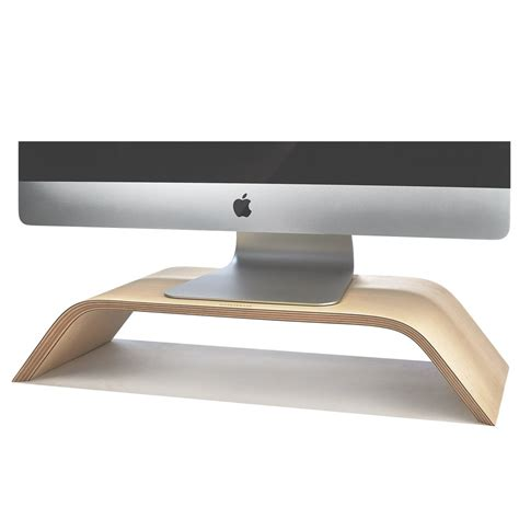 Wood Monitor Stand Imac Riser In Maple By Grovemade Monitor Desk Stands