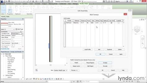 revit tutorial sweep creating wall sweeps and reveals