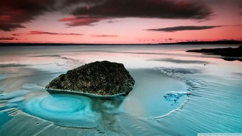 Nature beach rocks long exposure sea wallpaper