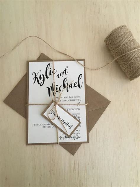rustic twine wedding invitations rustic wedding invitation wedding invitation kit kraft wedding invitation simple rustic