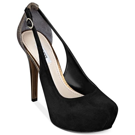 guess shoes jacoba platform pumps in black cognac leather