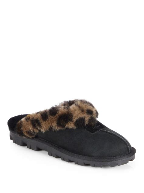 ugg suede slippers ugg australia coquette leopard print suede slippers in