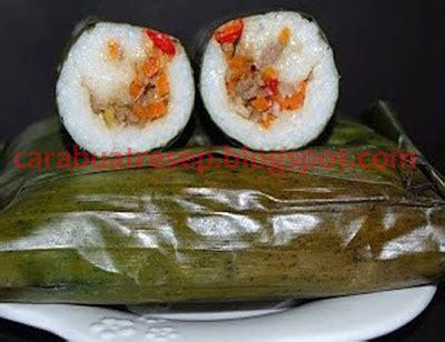 membuat lontong isi oncom pedas resep masakan indonesia