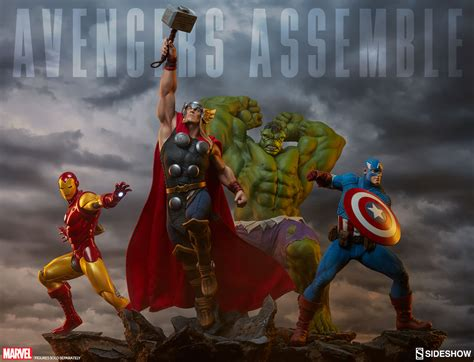 Mainan Heroes Assemle Captain America Iron sideshow assemble statue up for order marvel news