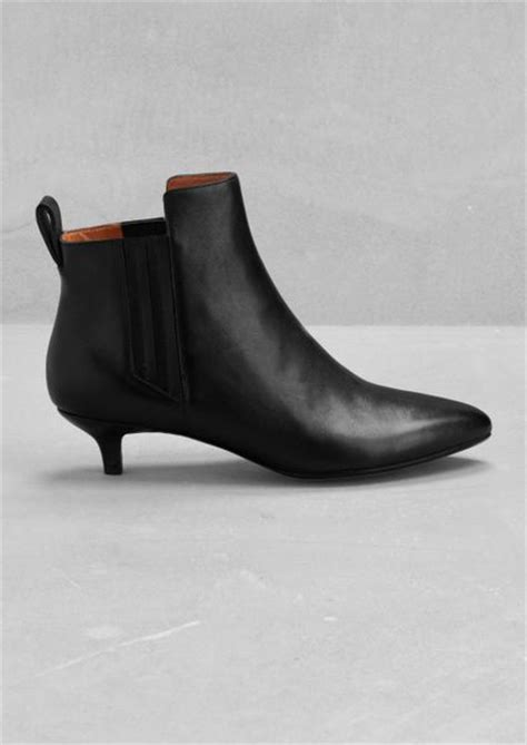 other stories leather kitten heel ankle boots in black