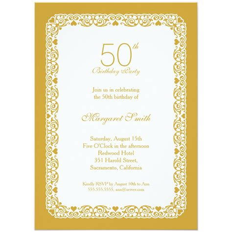50th birthday colors personalized 50th birthday invitations