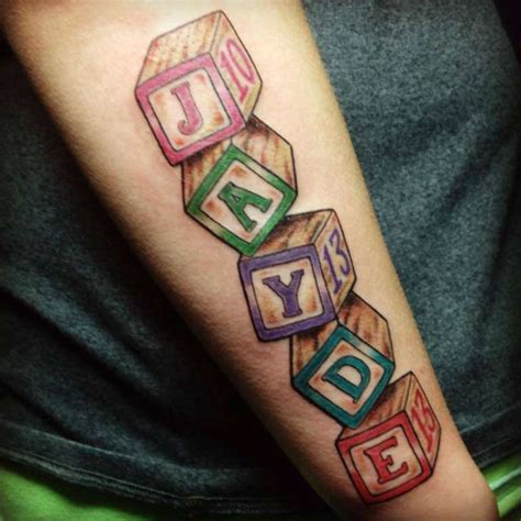 baby block tattoos familyfriendlytattoos childrens blocks by malissa booth