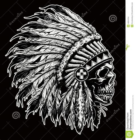 one color indian skull vector illustration stock vector