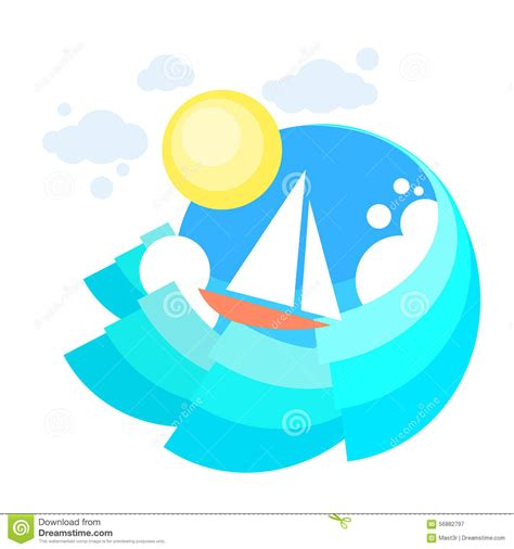 boat trip icon sail yacht boat sea icon sailing ocean vaction stock