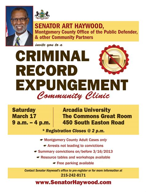 How To Expunge Criminal Record In Pa Criminal Record Expungement Clinic Senator Haywood