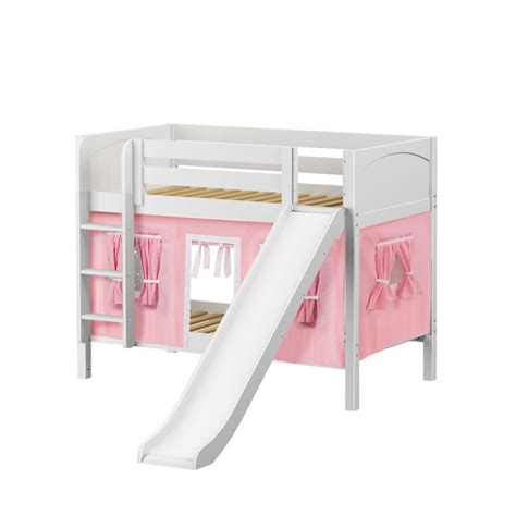 White Bunk Bed Ladder Maxtrixkids Smile23 Wp Low Bunk Bed With Ladder Slide Curtain White