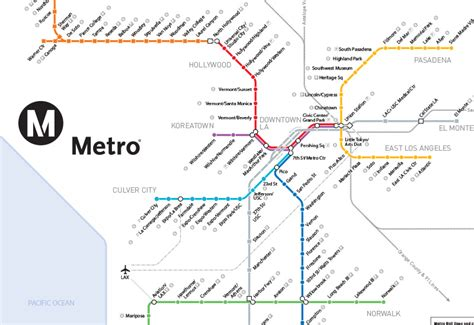 los angeles subway map metro los angeles map