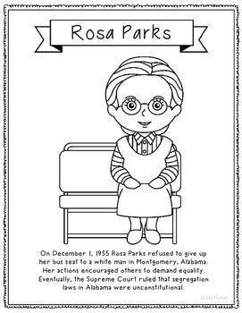 rosa parks coloring page rosa parks coloring page craft or poster with mini
