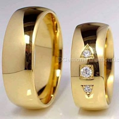 wedding bands for him and in 14k yellow gold