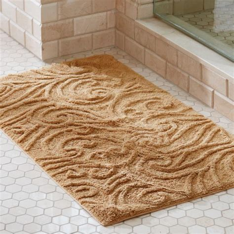 Augustine Sculpted Scroll Bath Rug Frontgate Frontgate Bathroom Rugs