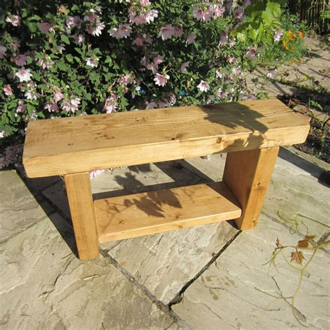 Handcrafted Wooden Benches - chunky rustic pine solid wood bench handmade dining chair