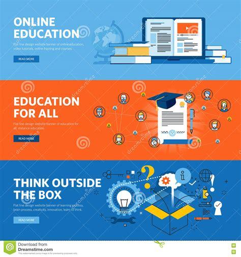 online tutorial for html set of flat line design web banners for online education