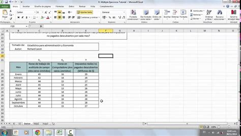 tutorial excel regresion lineal regresi 243 n lineal m 250 ltiple ejercicio en excel youtube