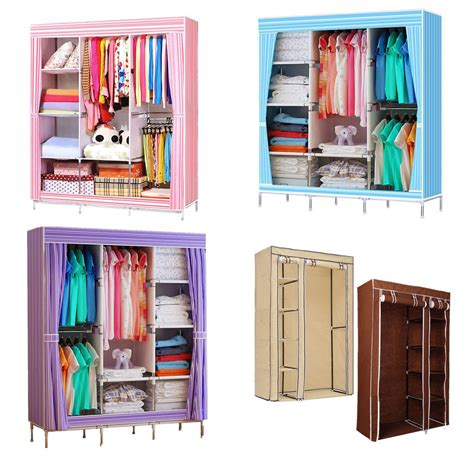 clothes cupboard double triple canvas folding close wardrobe cupboard