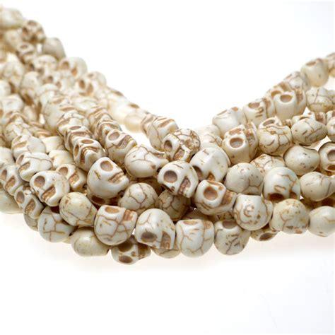 Stone Skull Beads, 12mm 3D Skull Beads, White Magnesite Beads   Silver Enchantments