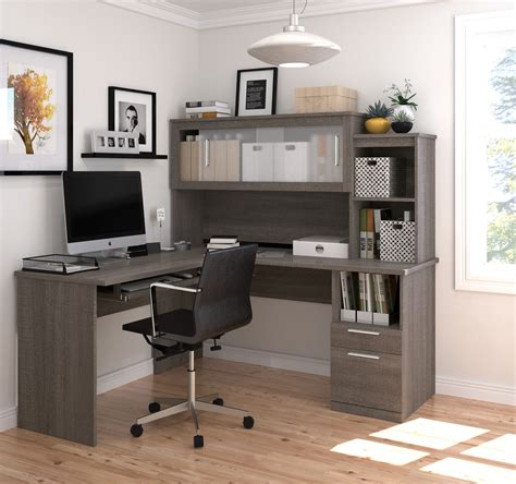grey l shaped desk l shaped office desk and hutch with frosted glass doors in